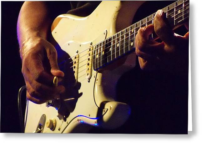 Stratocaster Blues Greeting Card by Steve Pimpis