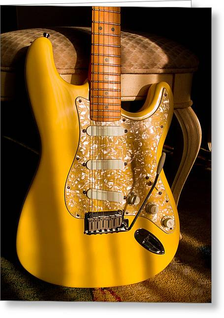 Stratocaster Plus In Graffiti Yellow Greeting Card