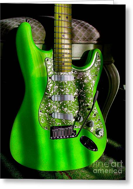 Stratocaster Plus In Green Greeting Card