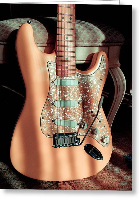 Stratocaster Plus In Shell Pink Greeting Card