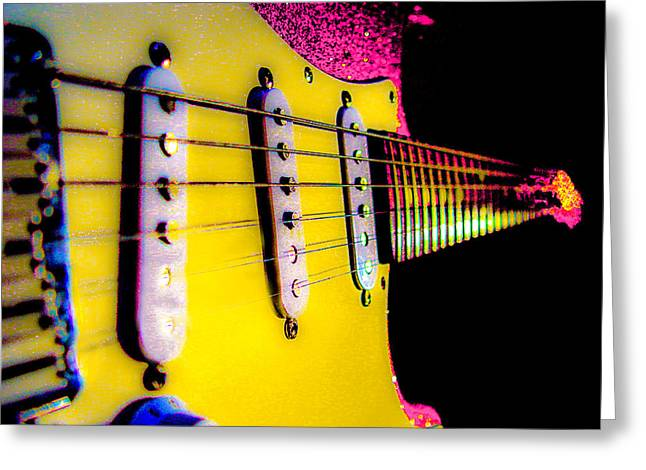Greeting Card featuring the photograph Stratocaster Pop Art Pink Fire Neck Series by Guitar Wacky