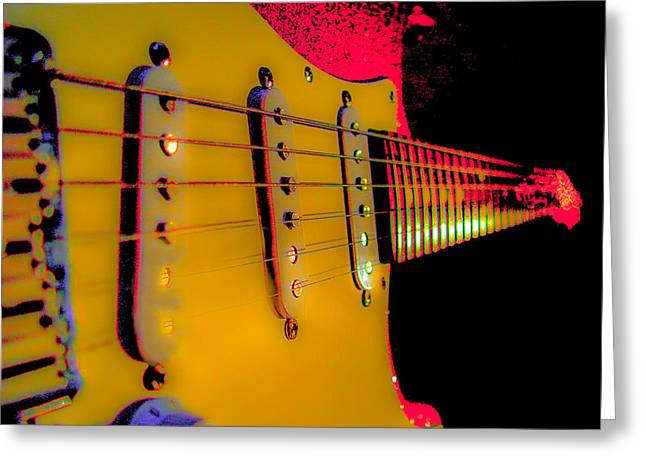 Greeting Card featuring the photograph Guitar Pop Art Hot Rasberry Fire Neck Series by Guitar Wacky