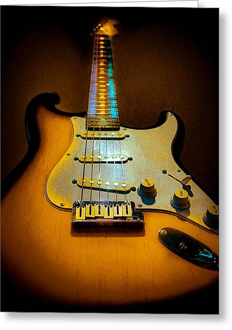 Stratocaster Tobacco Burst Glow Neck Series  Greeting Card
