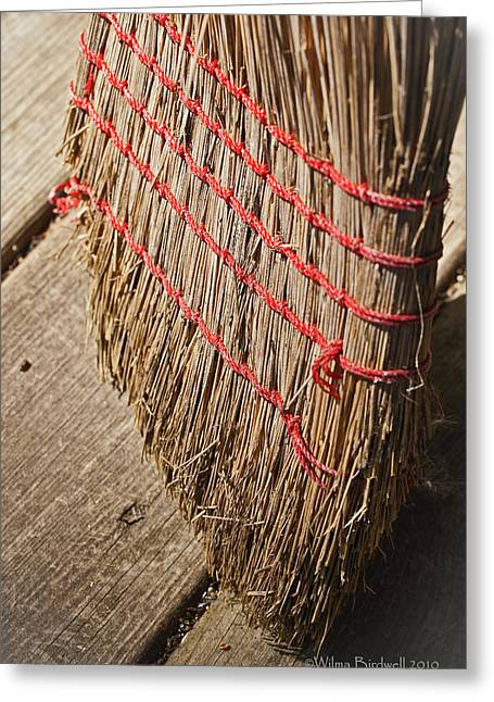 Housekeeping Greeting Cards - Straw Broom Greeting Card by Wilma  Birdwell