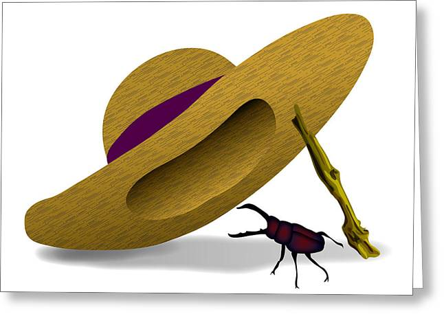 Straw Hat And Stag Beetle Greeting Card