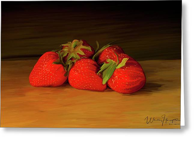 Strawberries 01 Greeting Card by Wally Hampton