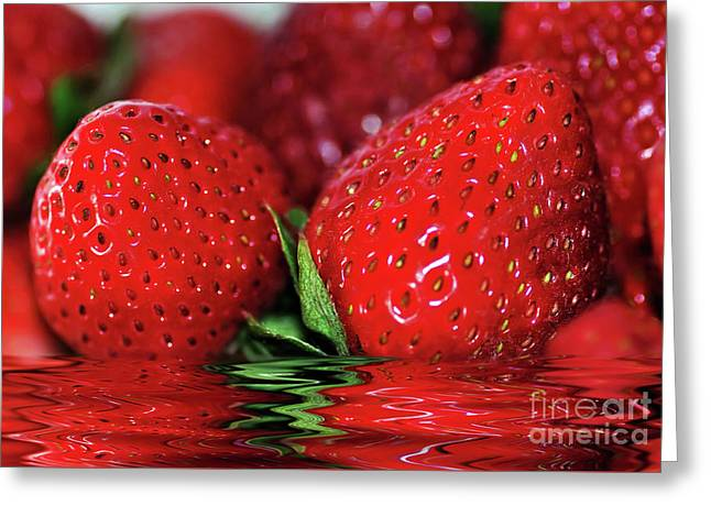 Strawberries Afloat By Kaye Menner Greeting Card by Kaye Menner