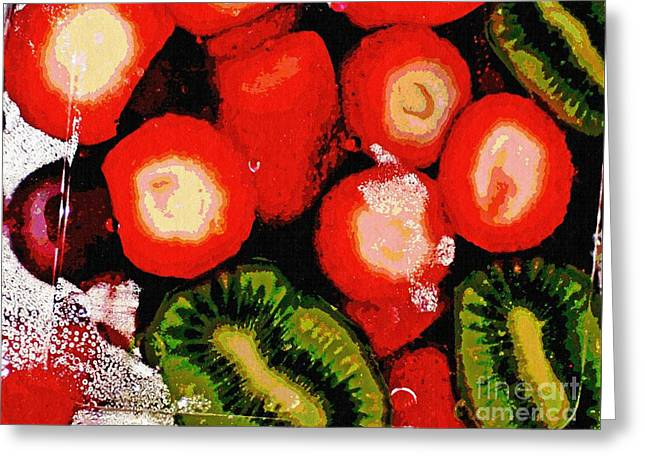 Strawberries And Kiwi Greeting Card by Sarah Loft