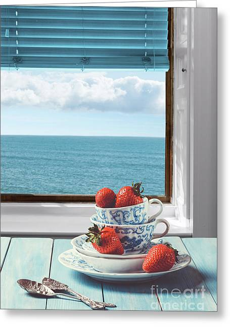 Strawberries By The Sea Greeting Card by Amanda Elwell
