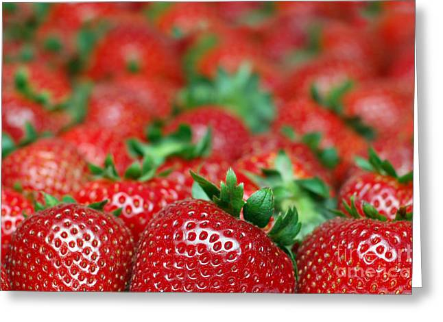Strawberries Close-up Picture Greeting Card by Paul Velgos