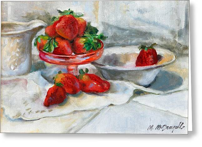 Strawberries In Cream Greeting Card by Michael McDougall
