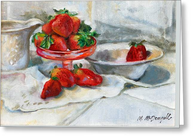 Strawberries In Cream Greeting Card