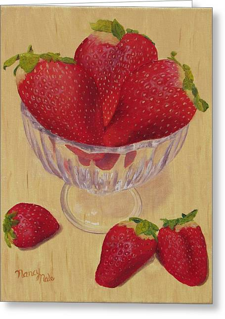 Greeting Card featuring the painting Strawberries In Crystal Dish by Nancy Nale