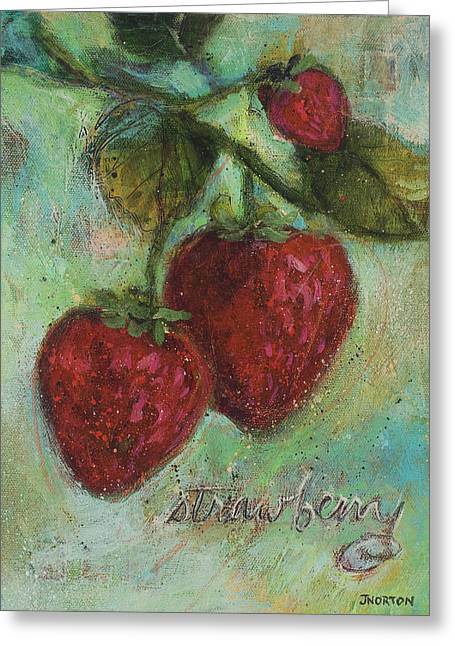 Strawberries Greeting Card by Jen Norton