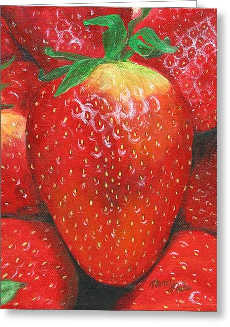Greeting Card featuring the painting Strawberries by Nancy Nale