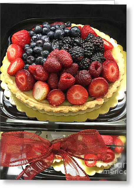 Greeting Card featuring the photograph Strawberries Rasberries Luscious Dessert Fruit Pie With Red Bow  by Kathy Fornal