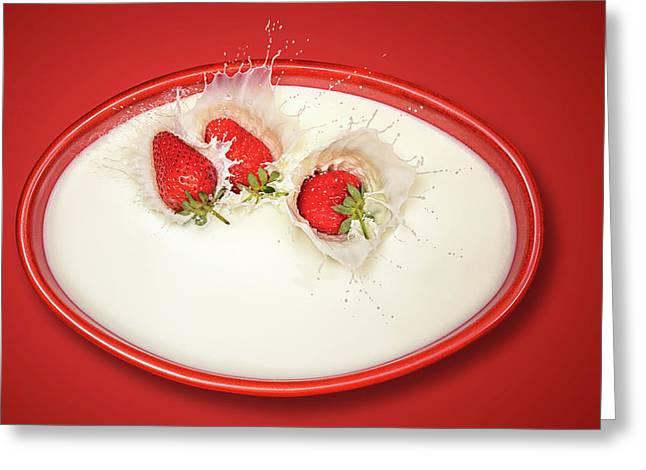 Strawberries Splashing In Milk Greeting Card