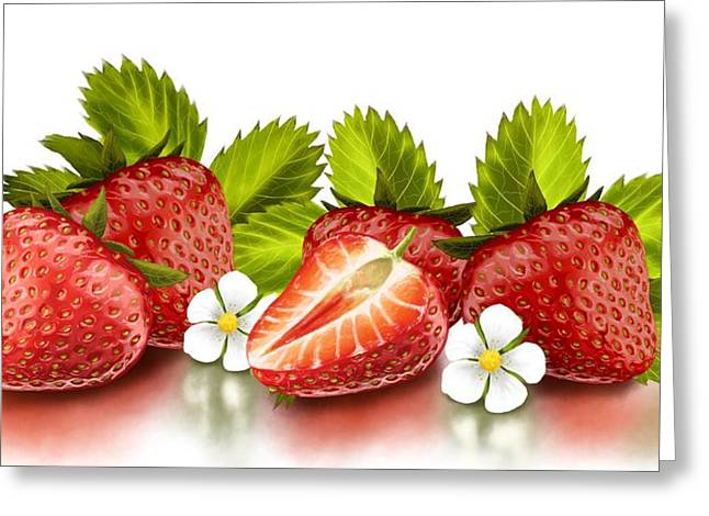 Strawberries Greeting Card by Veronica Minozzi