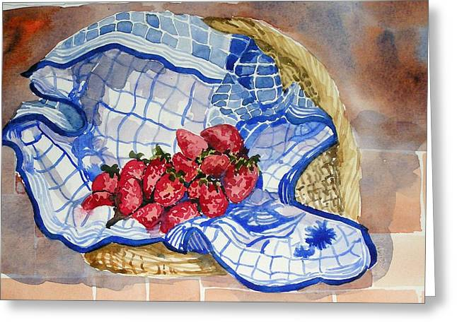 Greeting Card featuring the painting Strawberry Basket by Pat Crowther