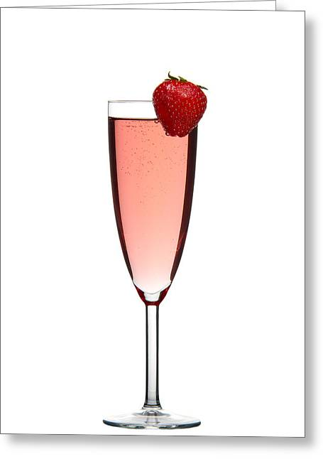 Portion Greeting Cards - Strawberry Champagne Greeting Card by Gert Lavsen