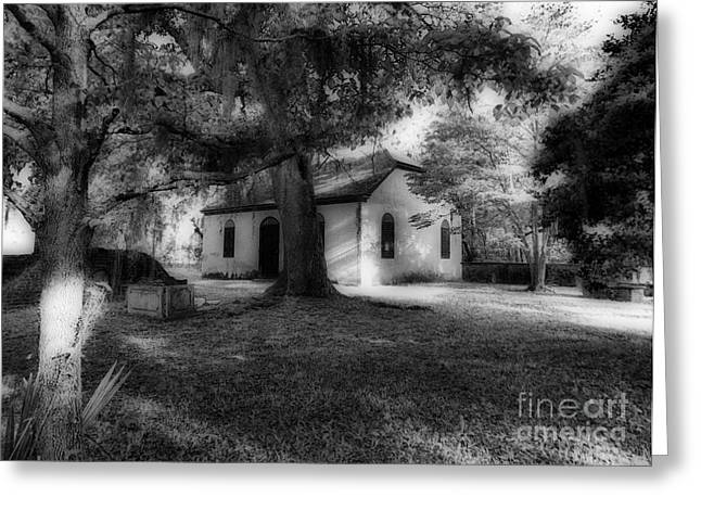 Strawberry Chapel Greeting Card by Skip Willits