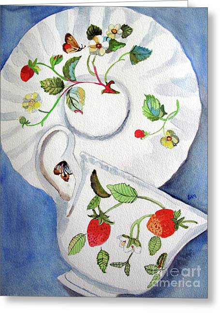Strawberry Cup And Saucer Greeting Card