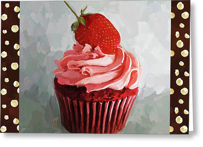Strawberry Cupcake With Border Greeting Card