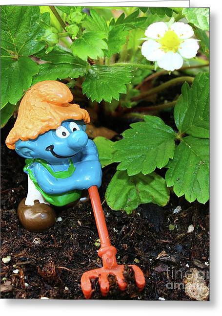 Strawberry Farmer Smurf Greeting Card