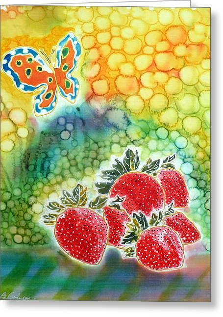 Strawberry Garden Greeting Card by Beverly Johnson