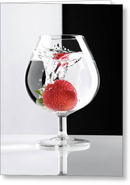 Liqueur Greeting Cards - Strawberry in a Glass Greeting Card by Oleksiy Maksymenko