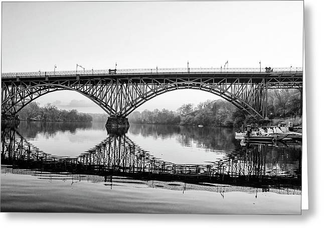 Strawberry Mansion Bridge In Black And White Greeting Card