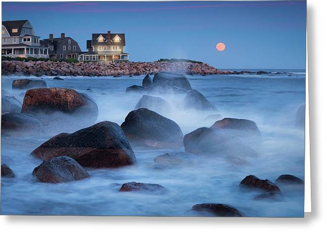 Strawberry Moon At Spray Rock Greeting Card
