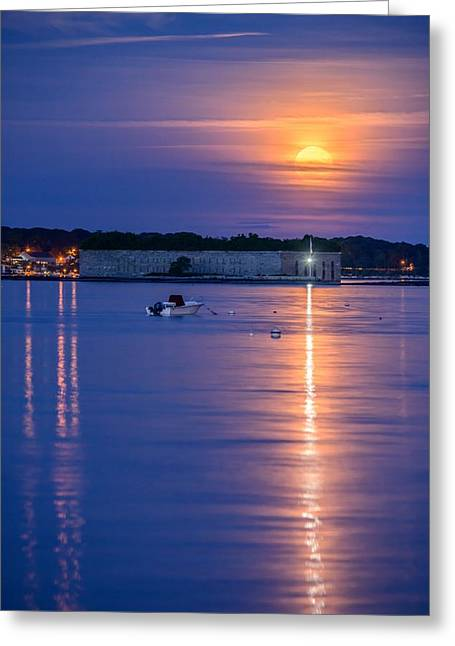 Strawberry Moon Over Fort Gorges II Greeting Card