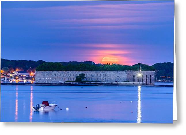Strawberry Moon Over Fort Gorges Greeting Card
