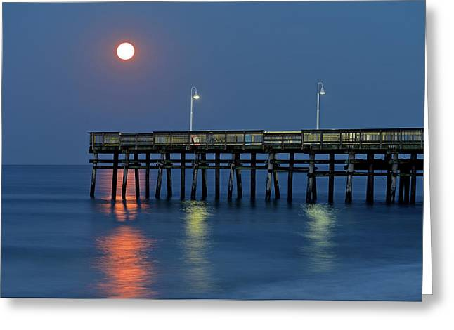 Strawberry Moon Over Sandbridge Greeting Card