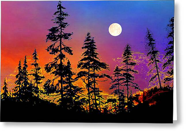 Strawberry Moon Sunset Greeting Card by Hanne Lore Koehler