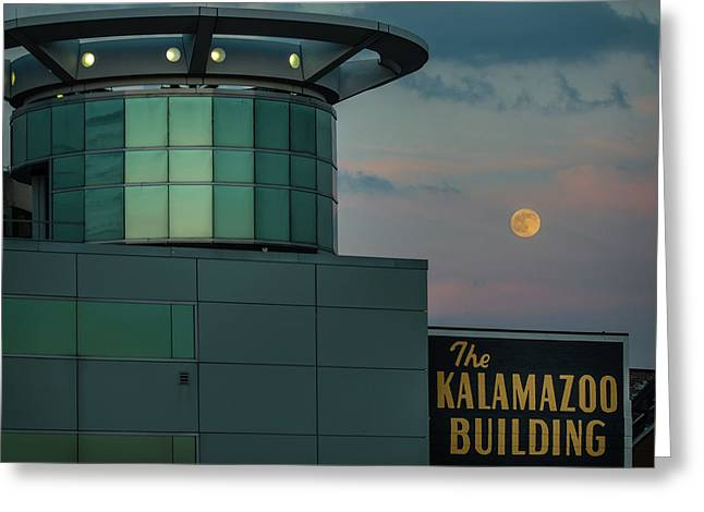 Strawberry Moonrise Over Kalamazoo Greeting Card