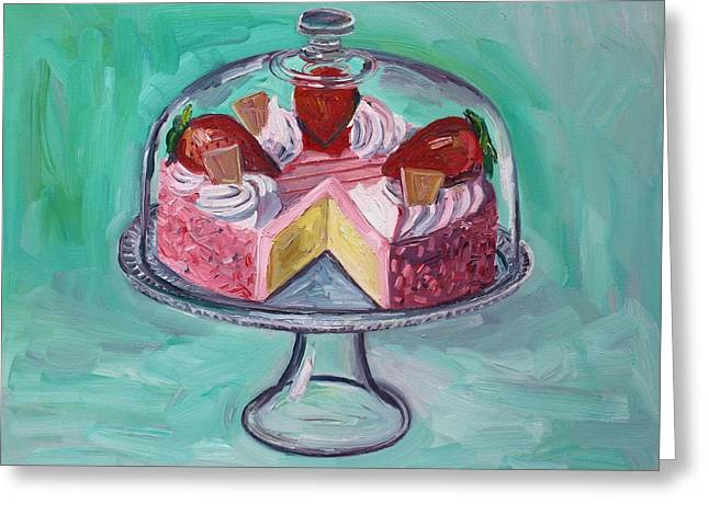 Strawberry Mousse Cake Greeting Card