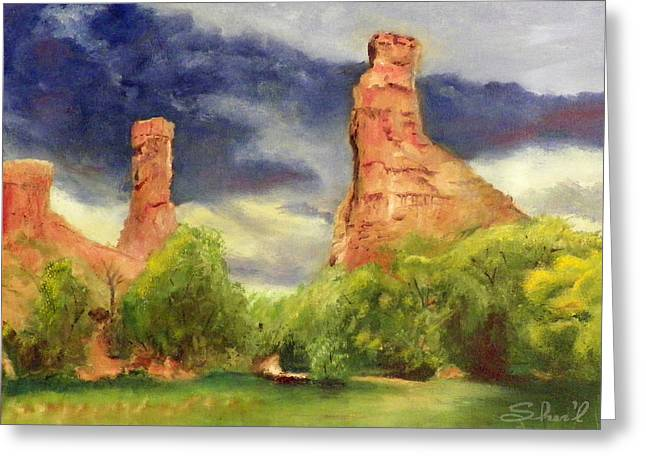 Greeting Card featuring the painting Strawberry Pinnacles by Sherril Porter