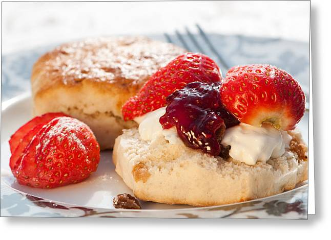 Strawberry Scones Greeting Card by Amanda Elwell