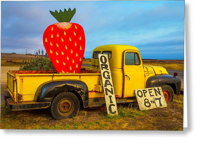 Strawberry Sign In Pickup Truck Greeting Card by Garry Gay