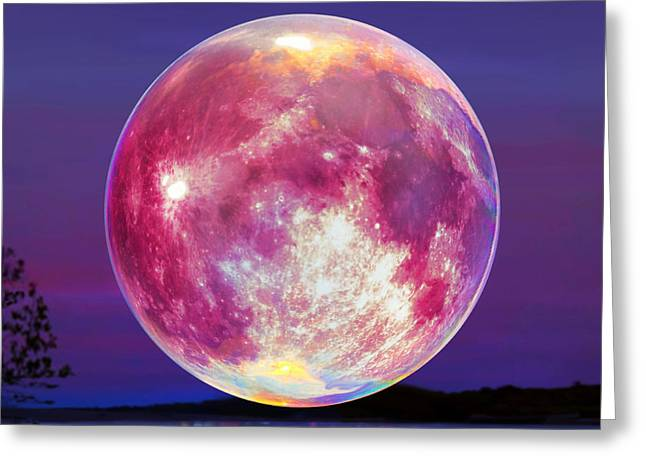 Strawberry Solstice Moon Greeting Card