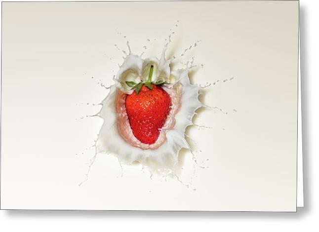 Strawberry Splash In Milk Greeting Card