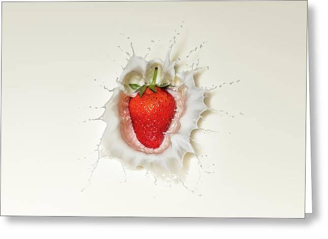 Strawberry Splash In Milk Greeting Card