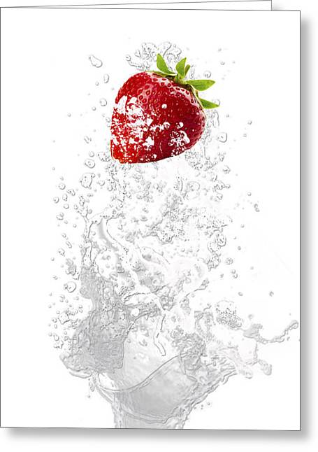 Strawberry Splash Greeting Card by Marvin Blaine