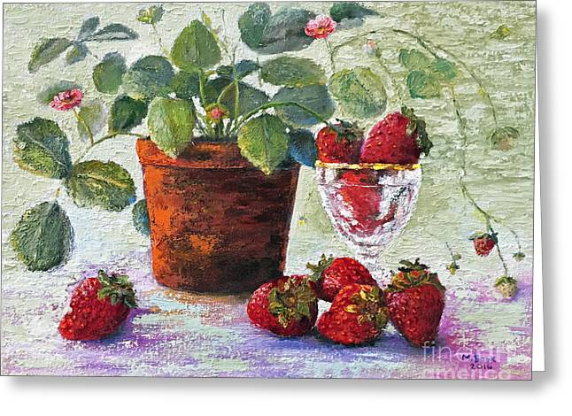 Greeting Card featuring the painting Strawberry Still Life by Marlene Book