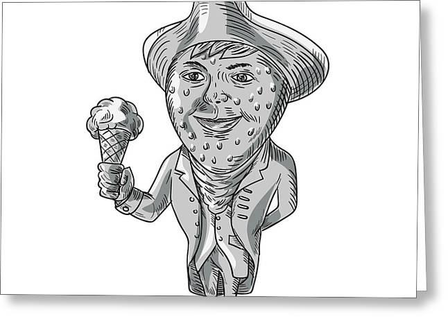 Strawberry Tricorn Hat Ice Cream Black And White Drawing Greeting Card by Aloysius Patrimonio