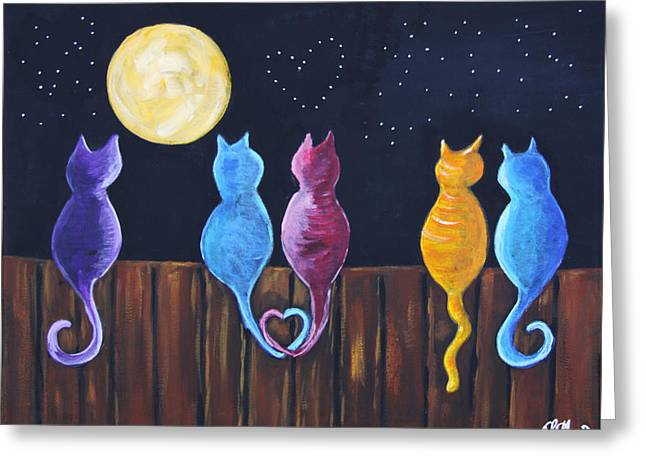 Stray Cats In Moonlight Greeting Card by Diana Haronis