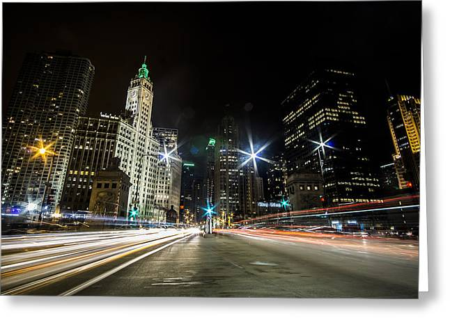 streaks of light zooming by you  on Chicago's Mag Mile Greeting Card