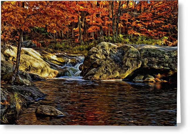 Stream In Autumn 57 In Oil Greeting Card